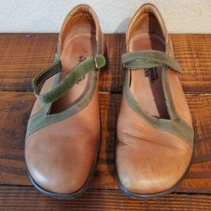 NAOT Leather Strap Comfort Mary Jane Clogs Mules